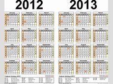 20122013 Calendar free printable twoyear Word calendars