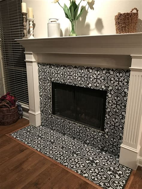 chalk painted  stenciled tile fireplace fireplace