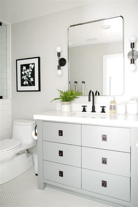 steel gray bath vanity  oil rubbed bronze pulls transitional bathroom