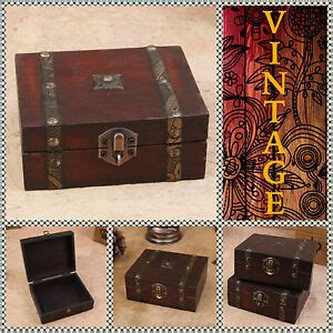 vintage retro wooden small chest wood box  jewelry