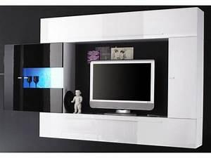 Ensemble Meuble TV murale blanc/noir laque a led Massimo