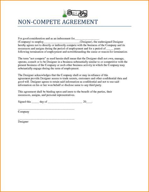 Sample Non Compete Agreement Template - Costumepartyrun