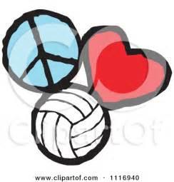Love Volleyball Cartoon Clip Art