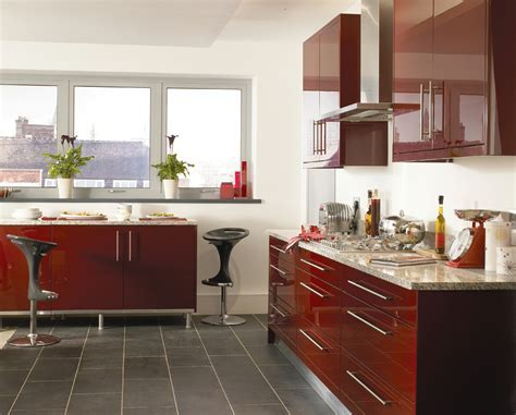Haddington Burgundy Gloss   Mastercraft Kitchens