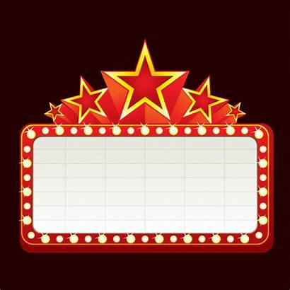 Sign Marquee Theatre Neon Clipart Theater Signs
