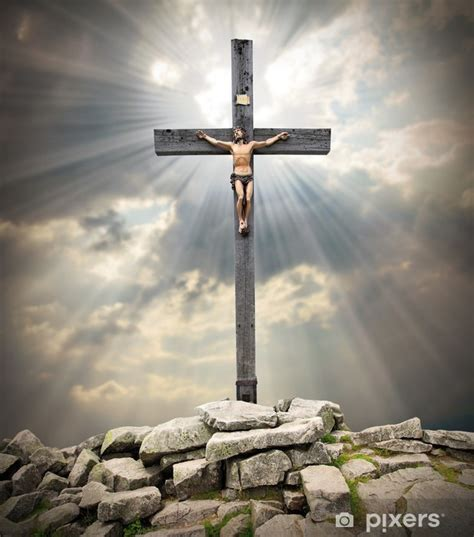 jesus christ   cross wall mural pixers