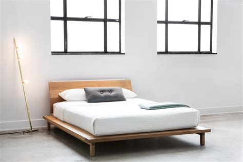B101 Solid Walnut Platform Bed With Angled Headboard