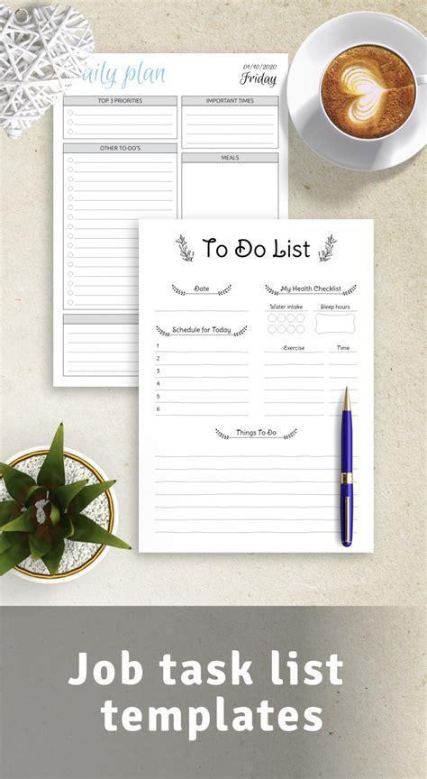Job task list templates
