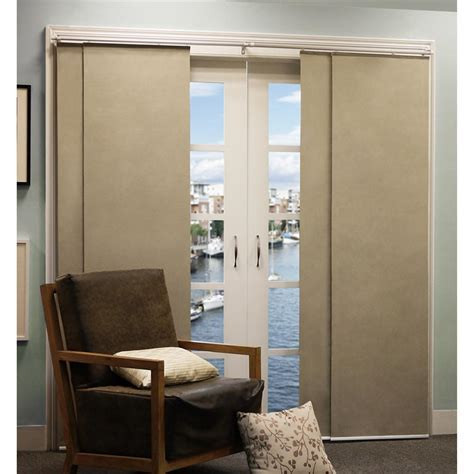 Double Rail Brown Fabric Sliding Panel Curtain With Four