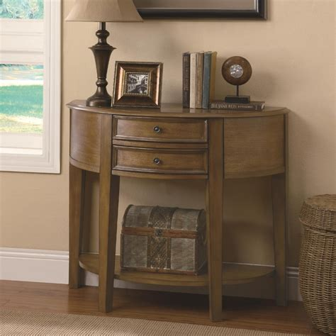 Entry Table With Drawers by Demilune Entry Table With 2 Drawers Shelf Transitional