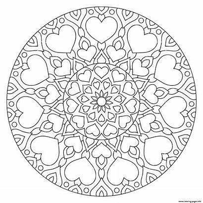 Mandala Valentine Coloring Pages Printable Hearts Flower