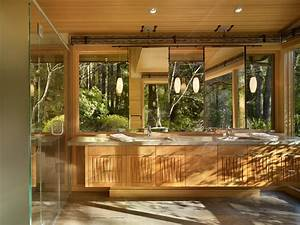 Contemporary double vanity bathroom with forest view this for Tropical bathroom mirrors