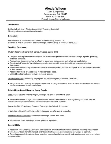 resume exle free tutor resume sle part
