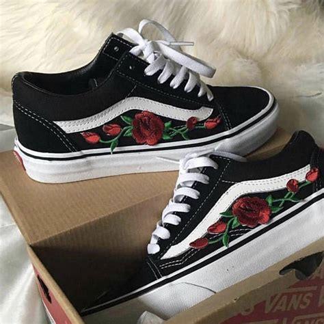 Custom Rose Flower Embroidered Genuine Authentic Vans ...