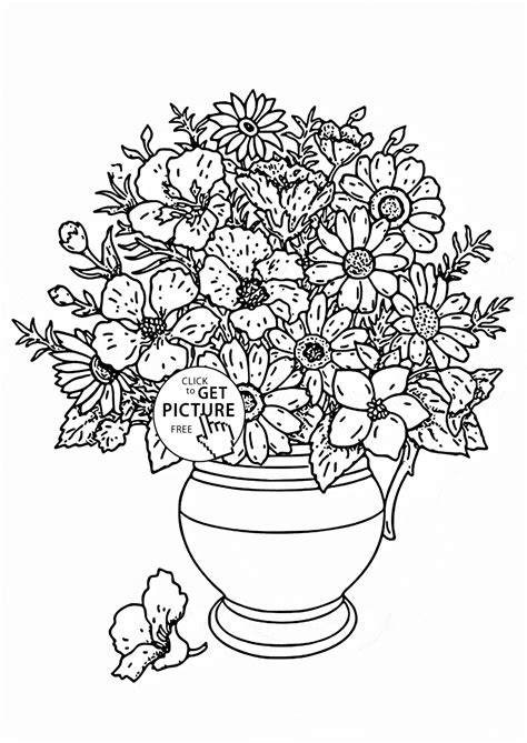bouquet  flowers coloring page   images