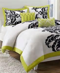 jla home mallorie 5 piece full queen comforter set green black white