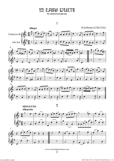 mozart easy duets sheet music for clarinet and alto saxophone in 2019 clarinet music sheet