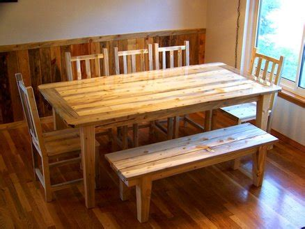 beetle kill pine dining set table chairs bench