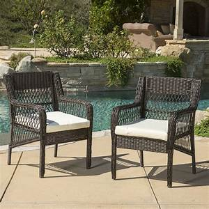 Clara, Outdoor, Wicker, Dining, Chair, With, Cushion, Set, Of, 2