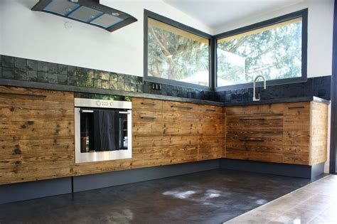cuisine bois beton idees de cuisine moderne en bois