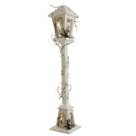 raz imports  lighted white wood lamp post