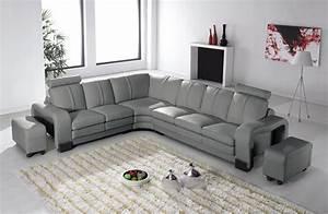 Deco in paris 7 canape d angle en cuir gris avec appuie for Tapis chambre bébé avec canape angle 200