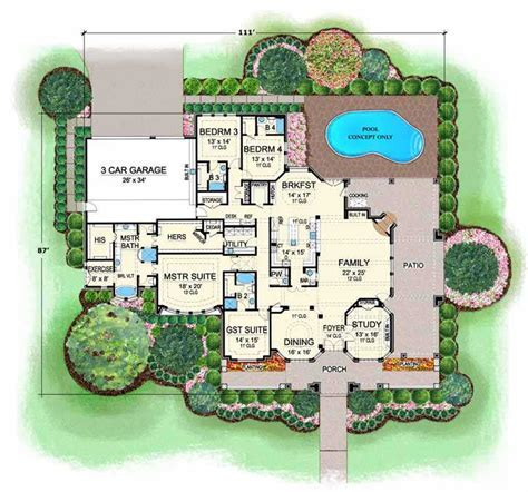 European House Plan   4 Bedrooms, 4 Bath, 4536 Sq Ft Plan