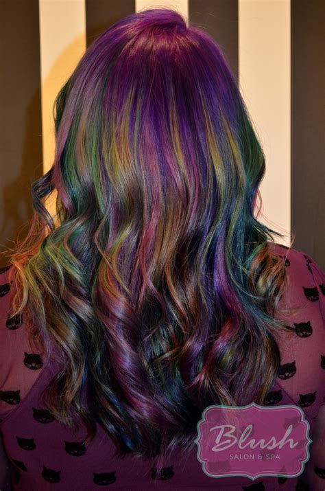 trend oil slick hair salon blush