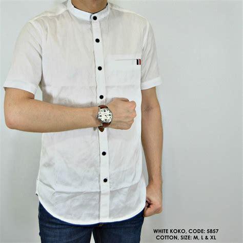 jual beli baju kemeja koko polos polosan putih cowok