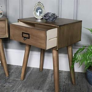 pair of retro 1 drawer bedside lamp table rustic urban With retro 1 drawer lamp table