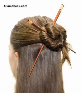 Elegant Half Updo with Asian Hair Sticks | Bun Hairstyles ...