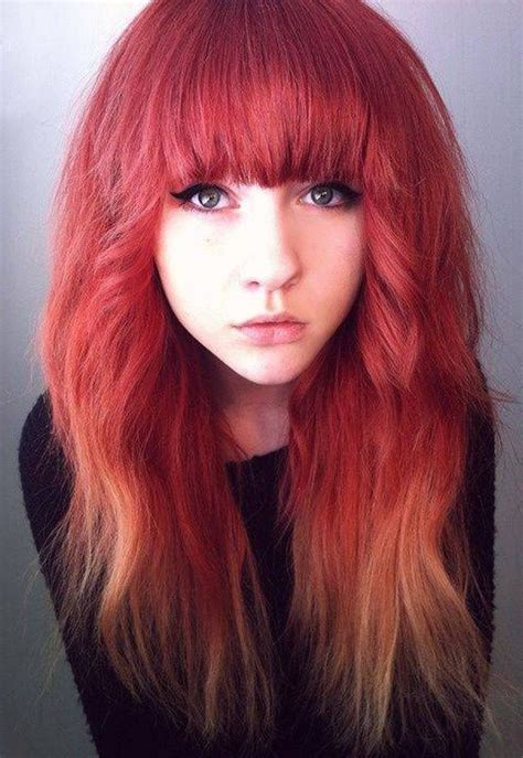 Girls With Red Hair Ombre Color Dyed Red Hair Red Ombre