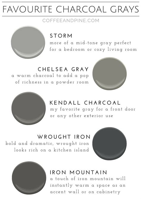 favorite charcoal grays coffee and pine