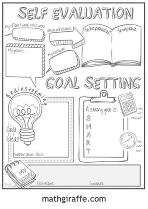 student goal setting sheet  middle school  images