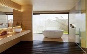 salle de bain blanche et bois a la mode With salle de bain blanche et bois