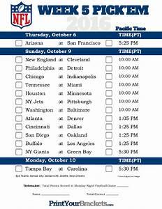 Printable Weekly Football Pool Sheet Pacific Time Week 5 Nfl Schedule 2016 Printable