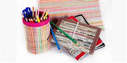 Paper Waste Into Recycled Items Says Weaving