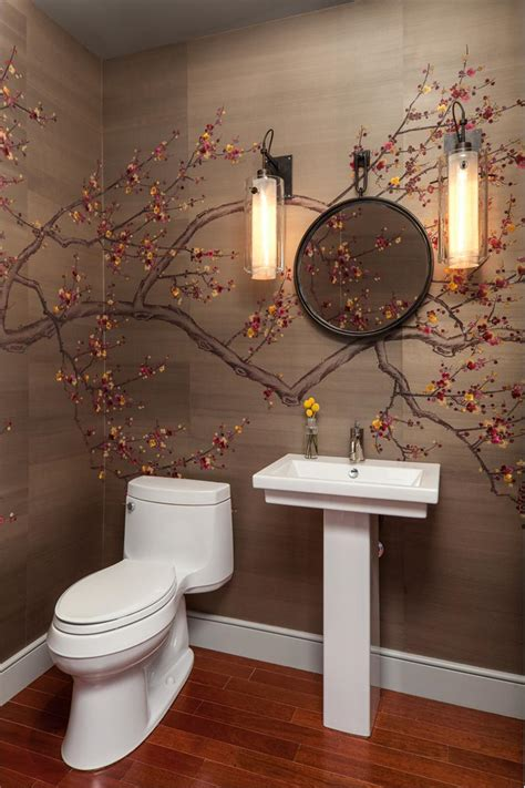 Japanese Cherry Blossom Bathroom Decor by Dramatic Wallpaper For Powder Room Best Wallpaper Background