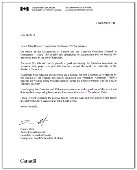business letter format canada sample business letter