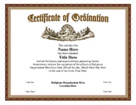 ordination certificate templates