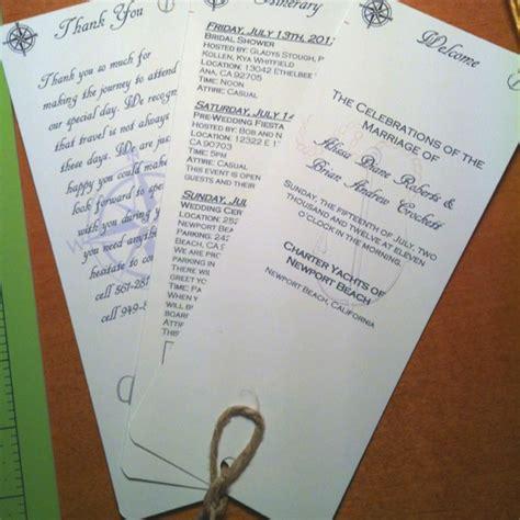 wedding  basket insert  itinerary