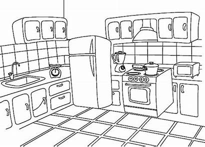Coloring Kitchen Pages Draw Sketch Spices