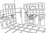 Kitchen Coloring Pages Draw Template Sketch Decor sketch template
