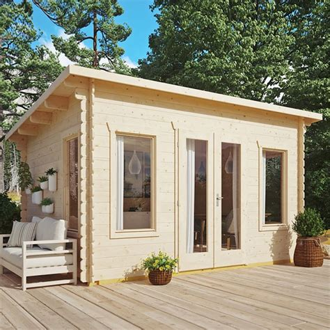 sanctuary pent log cabin mm wall thickness shedsfirst