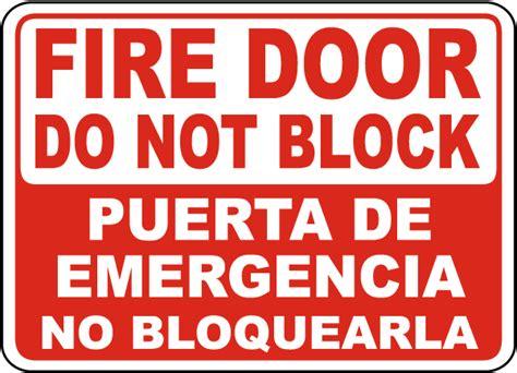 bilingual fire door   block sign