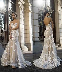 2016 lace mermaid applique ivory wedding dresses With cheap colored wedding dresses