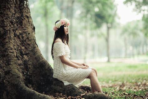image libre fille modele photo couronne fleur arbre