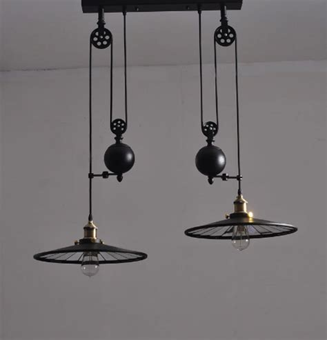 bar black wrought iron pulley pendant light with wheels