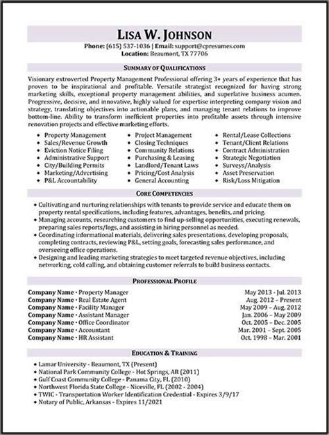 property manager resume sample manager resume job