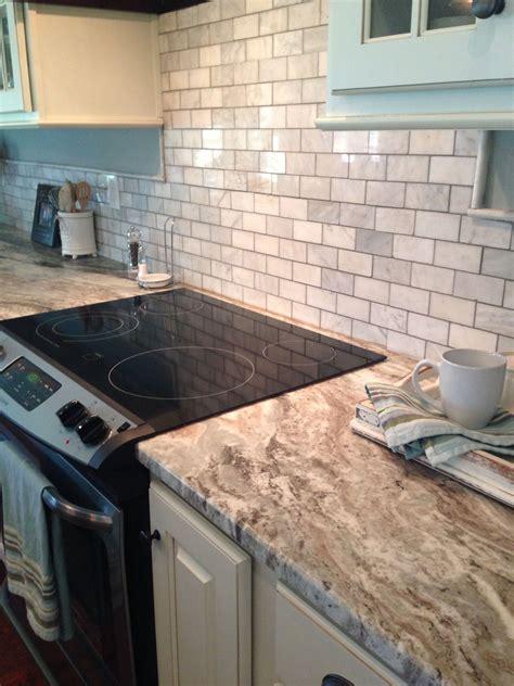 kitchen tile backsplash ideas with granite countertops brown granite and marble tile sheet backsplash 9838